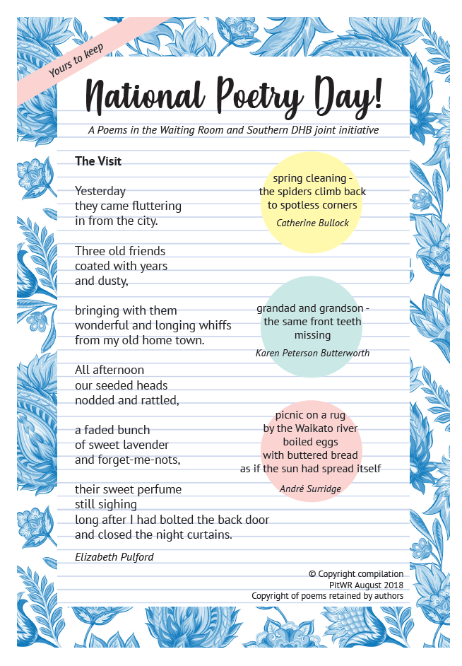 Southern Dhb Celebrates National Poetry Day With Meal Tray Poems New Zealand Doctor Because poem of the day is what i have titled this submission. southern dhb celebrates national poetry
