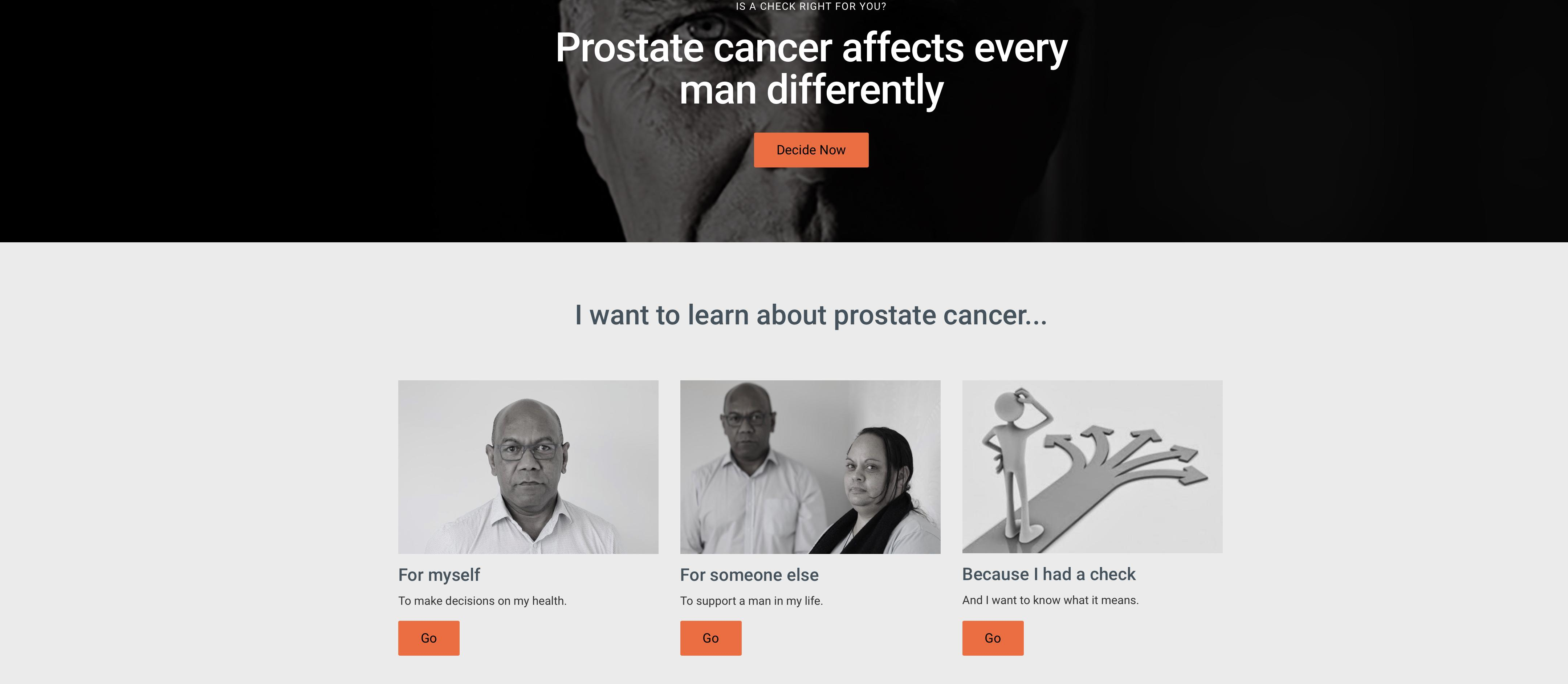 Prostate Cancer Check Patient Website