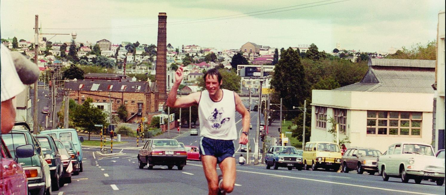 "John in the 1982 Les Mills New Zealand Ironman Championship race: ""My first triathlon and my first win"""