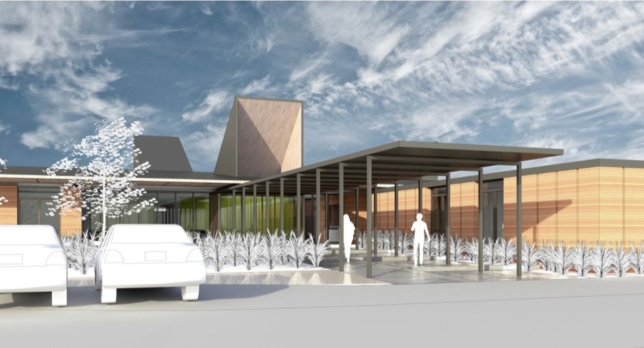Artist impression of new Buller Health facility in Westport (main entrance) 2019