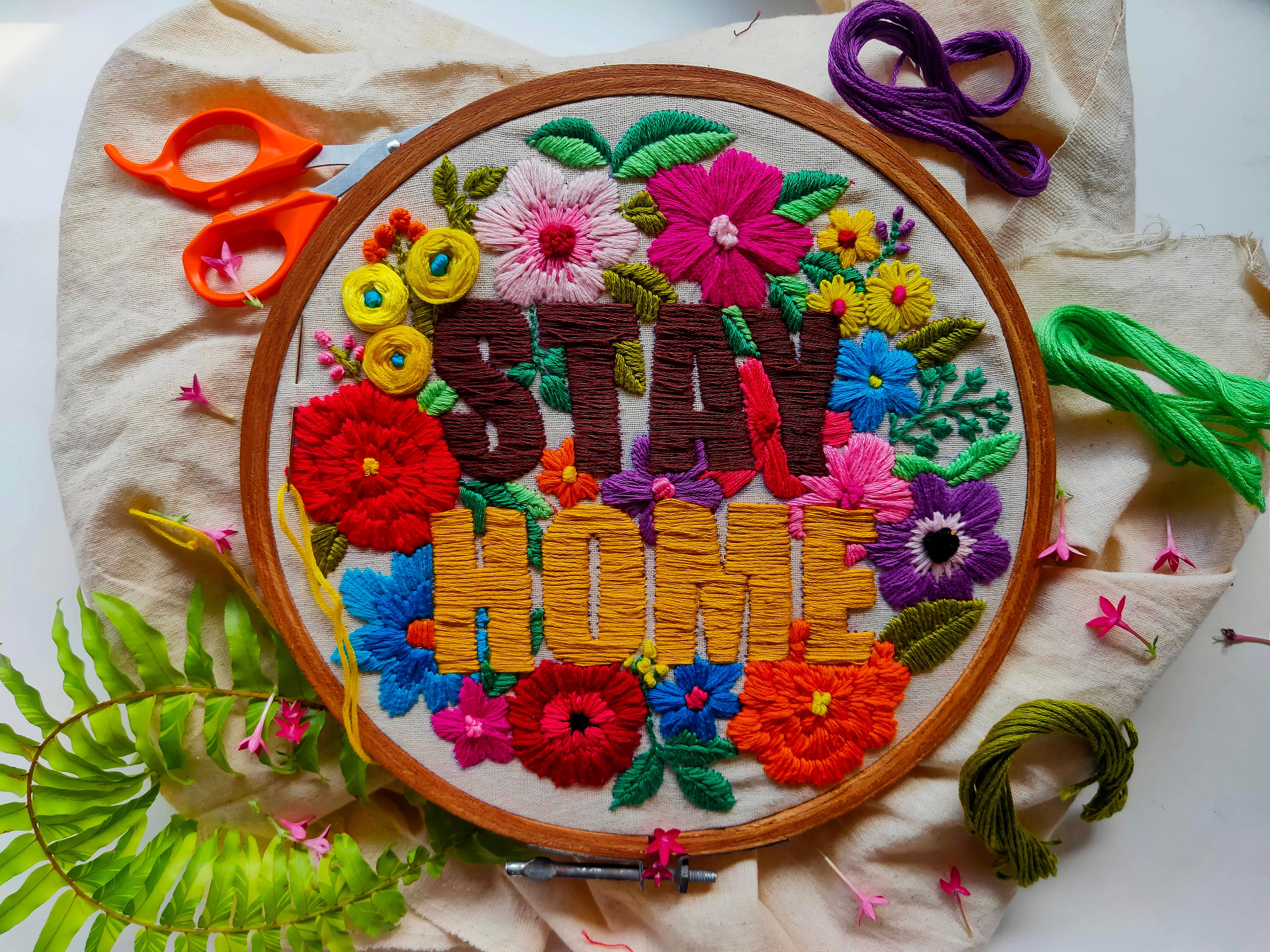 Stay Home embroidery - Swati H Das on Unsplash
