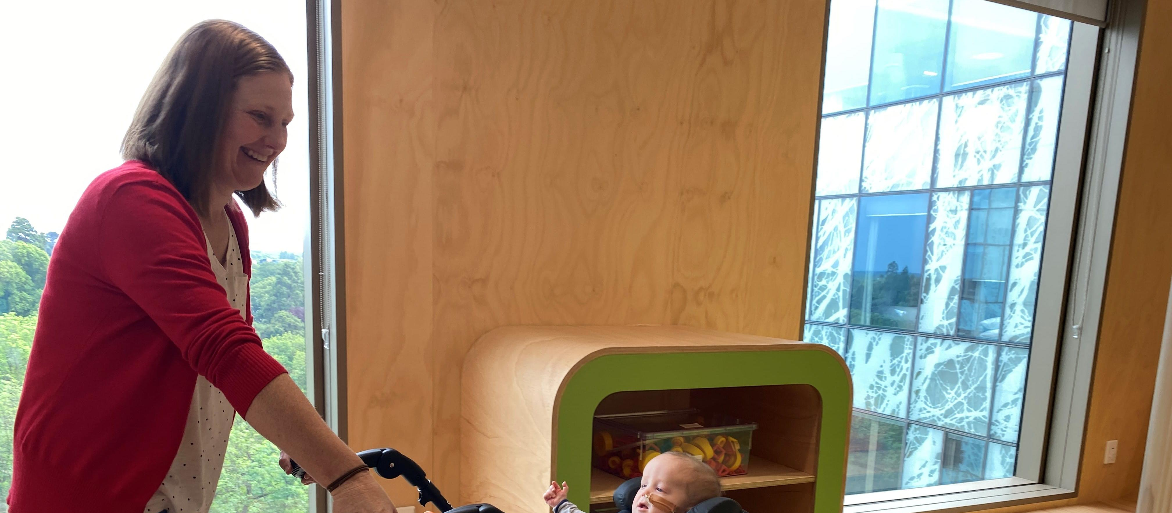 Anna and Cole check out the Matatiki hub at new Christchurch hospital