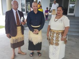 Chair Maika Kinahoi Veikune, Glenn Doherty, CEO/medical director and clinical services manager Mele Vaka, all from the Tongan Health Society