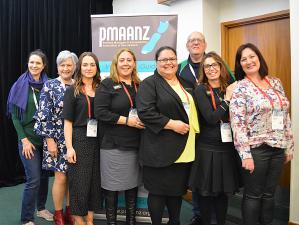 The newly voted in PMAANZ executive Heidi Bubendorfer, Sue Neems, Lana McNicholas, Michelle Te Kira, Henrietta Taia, Mark O'Connor, Sue Taaffe, and Carole Unkovich – contracted administrator