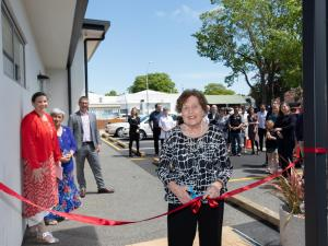 Longstanding patient of Papanui Medical Centre Betty Bennetts cuts the ribbon for the new premises, with managing partner Vanessa Weenink, kaumātua Aroha Reriti-Crofts, and Christchurch MP Duncan Webb
