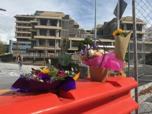 Floral tribute outside Christchurch Hospital