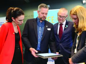 Just a Thought project lead Charlie David and clinical lead Anna Elders with prime minister Jacinda Ardern and minister of health David Clark