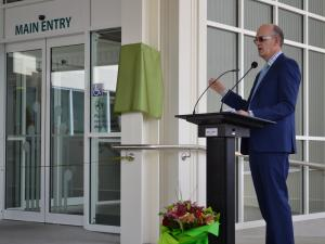 Health minister Tony Ryall addresses guests at the official opening of Wairoa Health in 2013