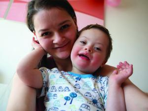 Mum with Down syndrome child