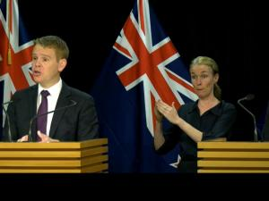 Chris Hipkins and Ashley Bloomfield Beehive Covid media briefing