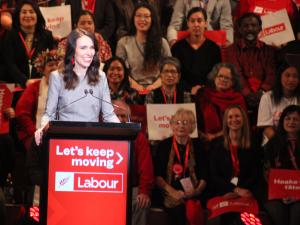 Jacinda Ardern speaking at campaign launch