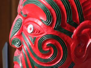 Te tupuna the carved figure head from Manukanuka o Hoturoa marae in Auckland