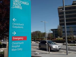 Christchurch Hospital and signs 2019