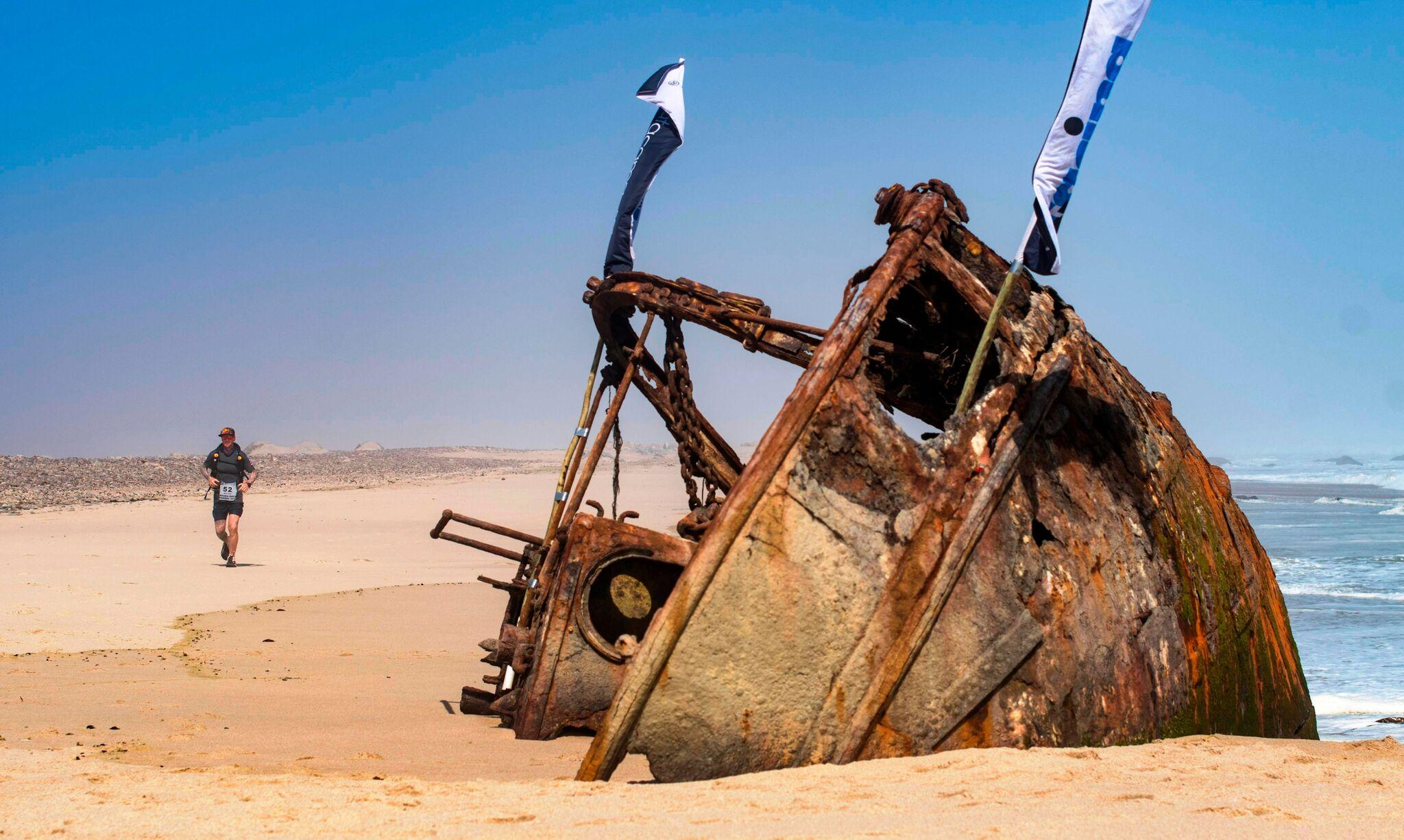 An old shipwreck seen during 'Beach day' running