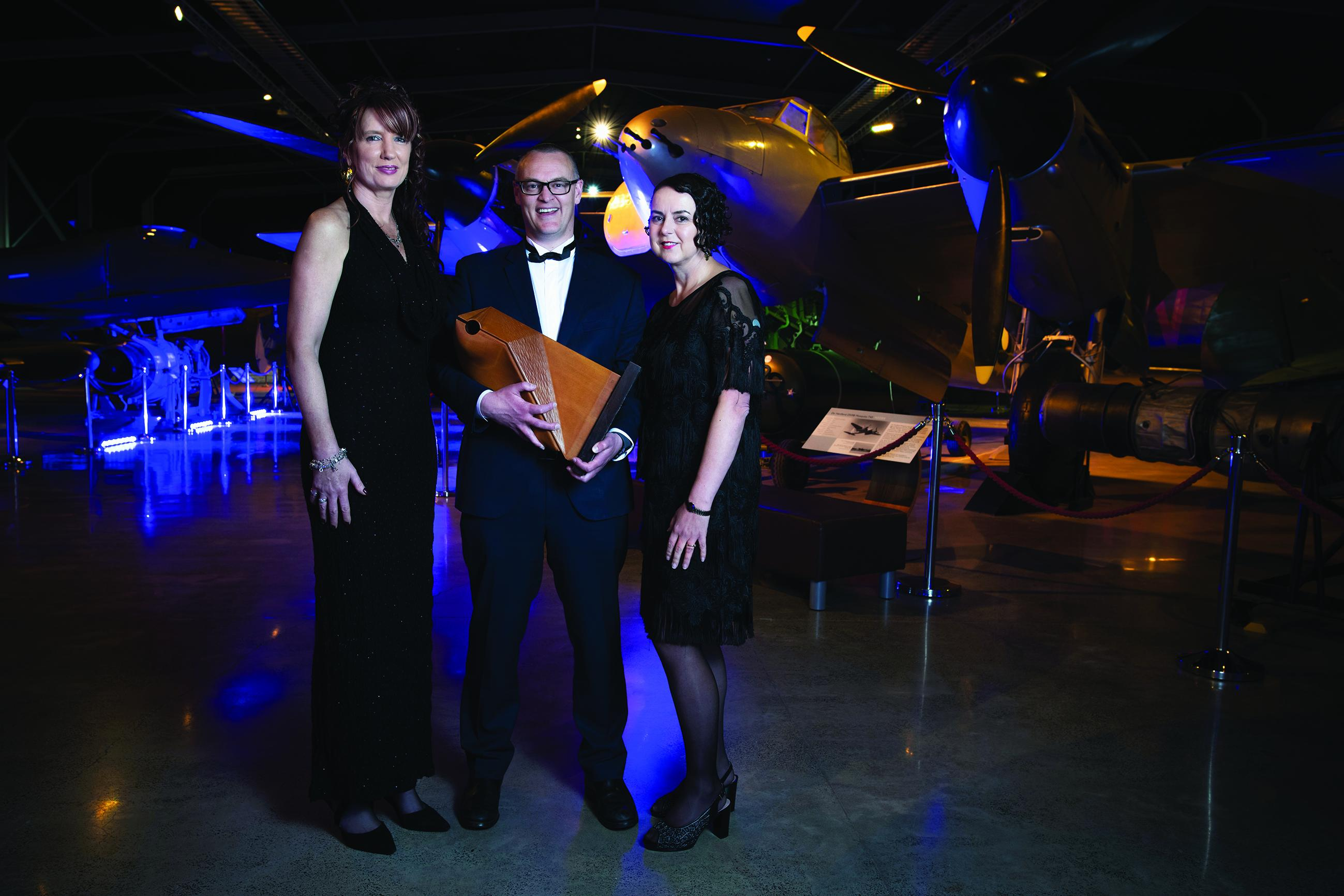 Alison Van Wyk, David Clark and Natalie Gauld at the Pharmacy Awards in 2018